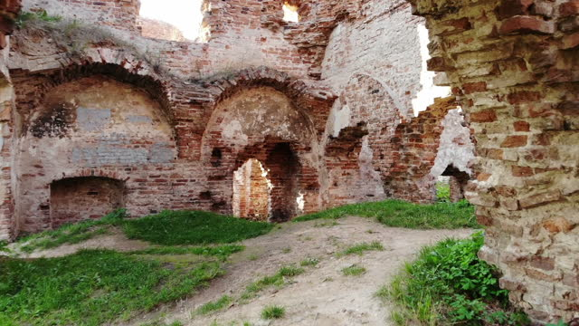 Walking through Ancient ruins of old europian castle, historical, archeolody heritage