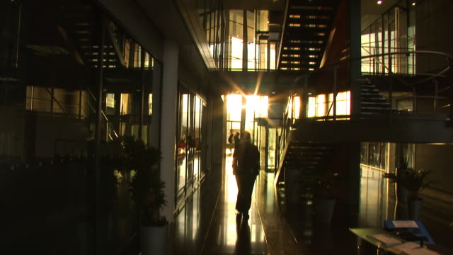 Walking through large office environment video