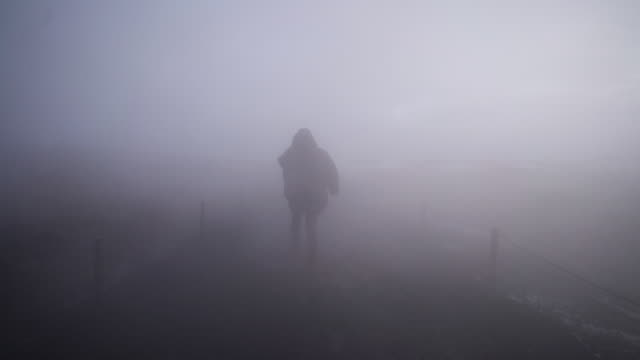 Walking through thick fog on Iceland Woman walking through thick fog from a geothermal pool on Iceland, in slow motion. lost stock videos & royalty-free footage