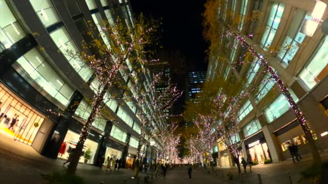 丸の内で冬のイルミネーションを歩く - 街灯点の映像素材/bロール