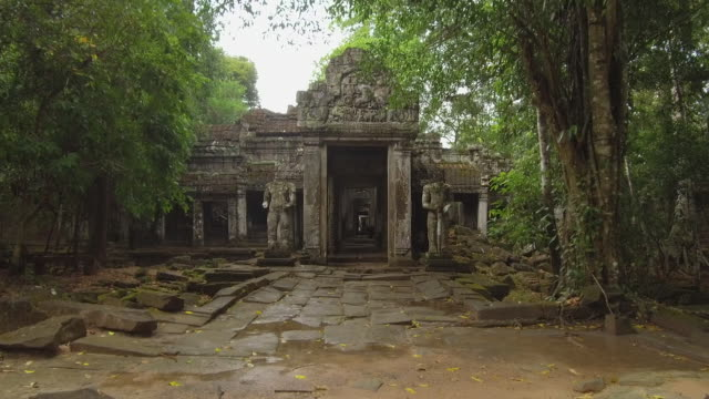 POV: は、2 つの腐食像によって保護された大きな石玄関に向かって歩きます。 ビデオ