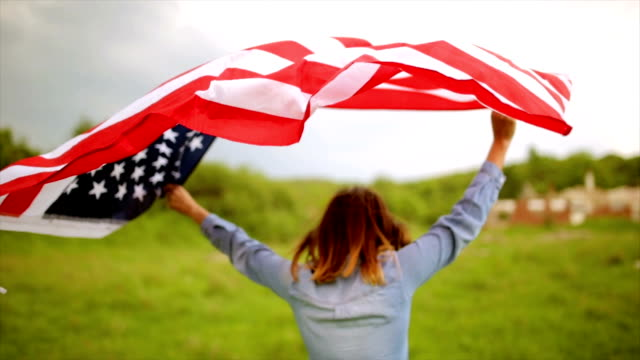 Walking with American flag video