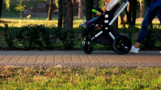 walking with baby carriage in the park. - bench stock videos & royalty-free footage