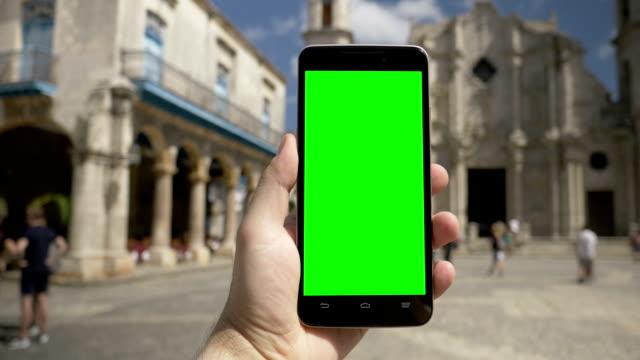 Walking with Green Screen Smartphone in Plaza de la Catedral video