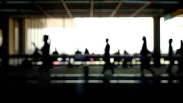 Walkway Airport Blurry Silhouette. video