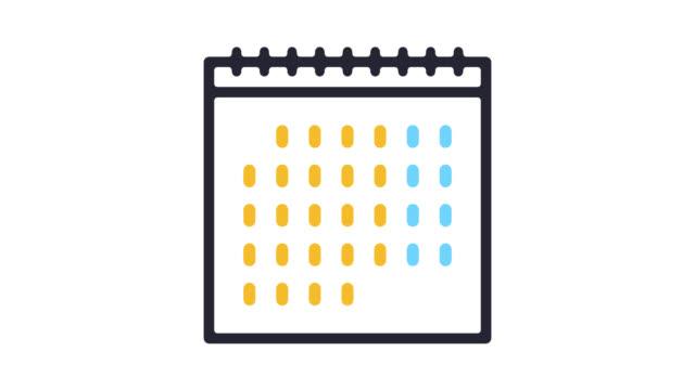 wand kalender linie symbol animation mit alpha - kalender icon stock-videos und b-roll-filmmaterial