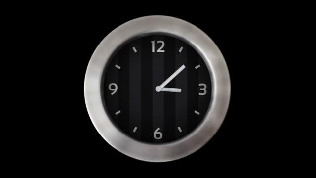 vídeos y material grabado en eventos de stock de reloj de pared. 1 bastidor por minuto. en bucle. negro. - wall clock