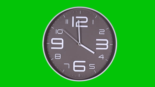 Wall clock on a green background Round gray wall clock on a green background. 04:00 wall clock stock videos & royalty-free footage