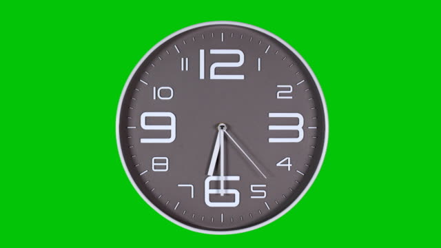 Wall clock on a green background Round gray wall clock on a green background. 06:30 wall clock stock videos & royalty-free footage