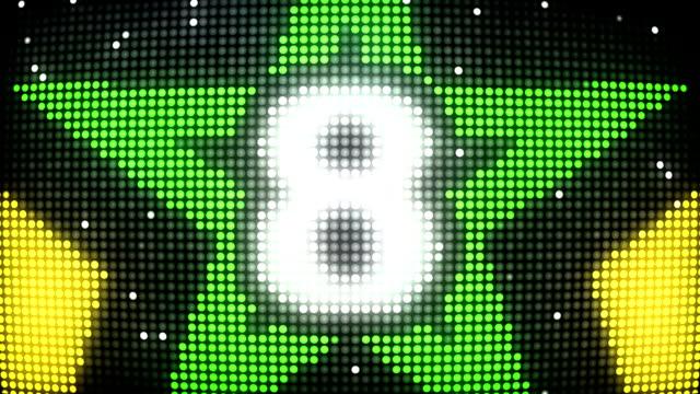 LED Wall Countdown - Yellow & Green Stars (Full HD) video