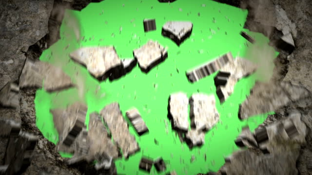 Wall Crash(Green back) + alpha channel The movie that a wall blows it up, and a hole becomes vacant breaking stock videos & royalty-free footage