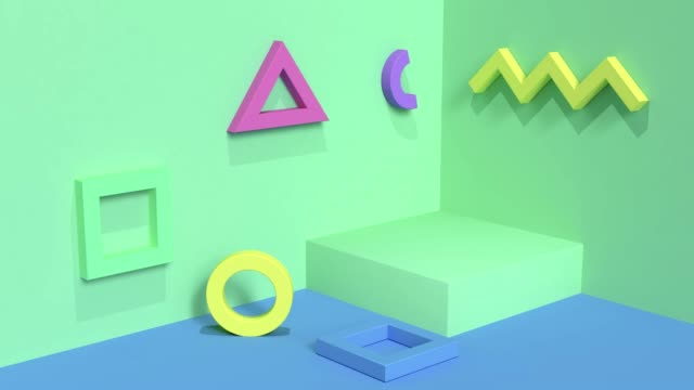 wall floor corner motion geometric shape abstract background 3d rendering green scene and multi color