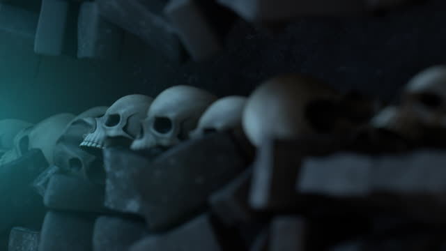 Wall of Skulls with Moving Bricks and Heads