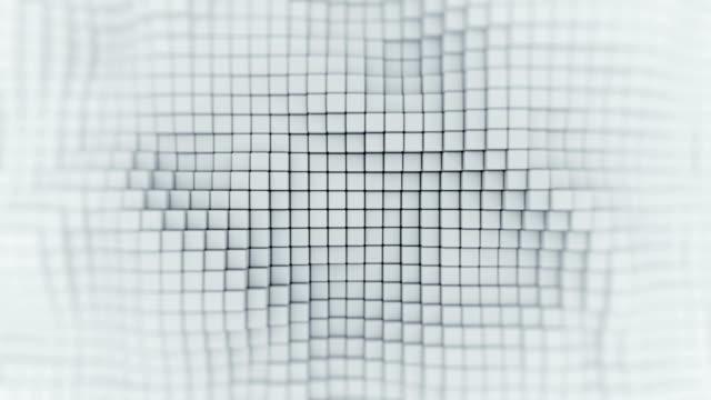stockvideo's en b-roll-footage met muur van witte blokjes abstracte naadloze loops 3d render animatie - low poly modelleren