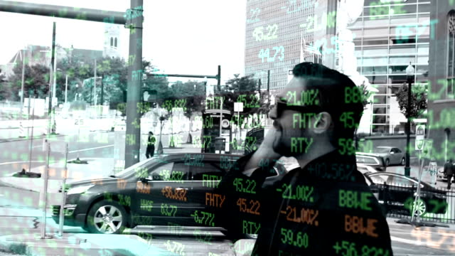 Wall Street Stock Market Ticker Overlay over corrupt businessman in city video