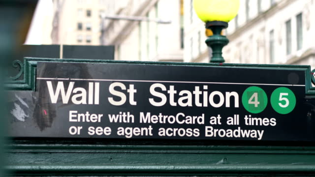 Wall Street Subway Entrance in New York City in 4K Slow motion 60fps video