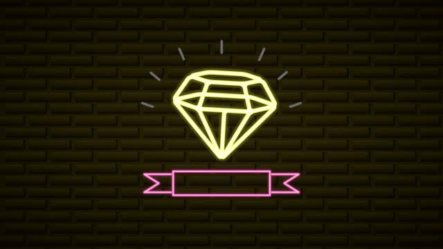 wall with neon light diamond