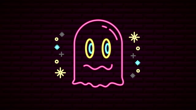wall with neon light ghost wall with neon light ghost ,FullHD video animation ghost icon stock videos & royalty-free footage