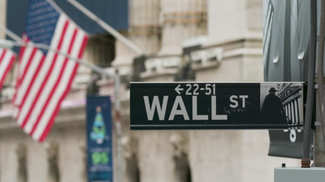 Wallstreet sign. Panning shot of the Wallstreet sign. dow jones industrial average stock videos & royalty-free footage