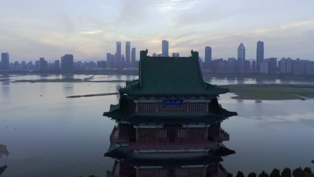 wangteng pavilion building, changteng, jiangxi - элемент здания стоковые видео и кадры b-roll