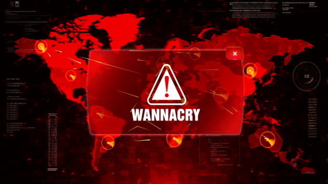 wannacry alert warning attack on screen world map loop motion. - spyware video stock e b–roll