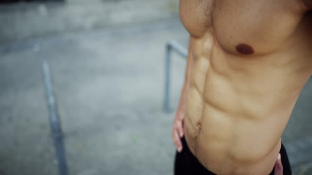 want  body like this? put the time in - man city exercise abs video stock e b–roll