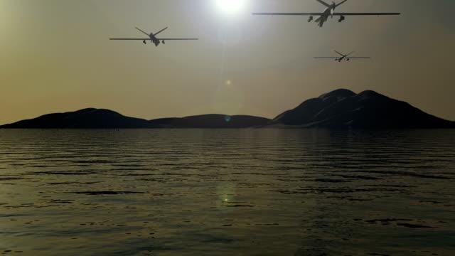 войны, что беспилотные летательные аппараты attack - армия стоковые видео и кадры b-roll