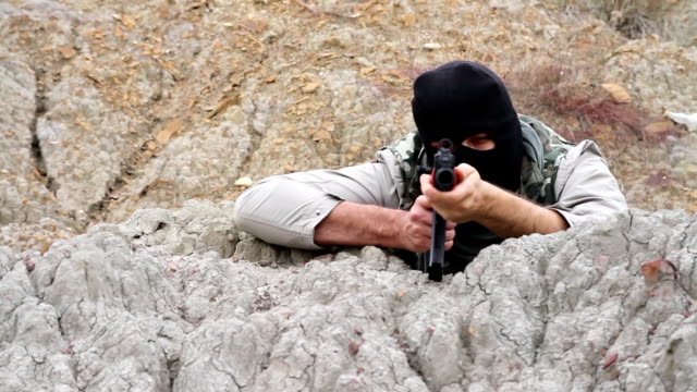 War Terrorist Assasin Anarchist Shooting Rifle video