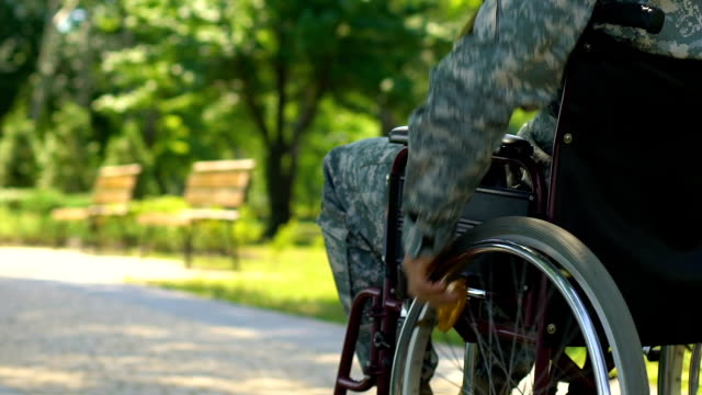 War veteran in wheelchair slowly moving along park, hero country defender video