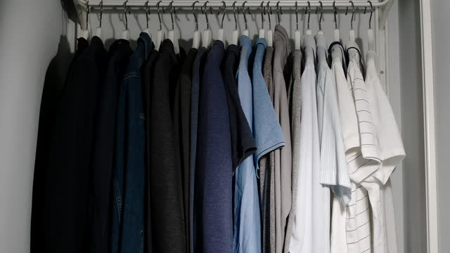 Video Wardrobe is filled with clothes in the room - Stop Motion