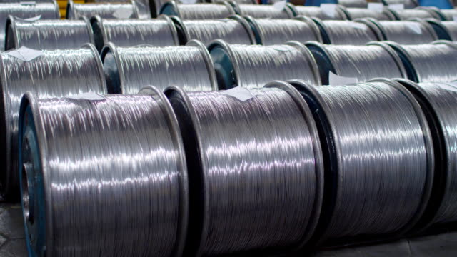 warehouse cable. finished products. cable ready for shipment - alluminio video stock e b–roll