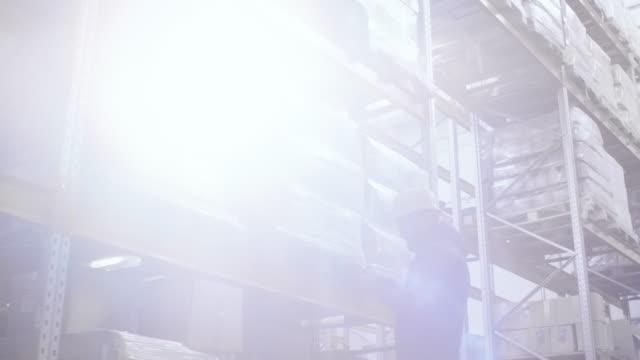 stockvideo's en b-roll-footage met magazijn voorraad van het controleren van de werknemer - warehouse worker