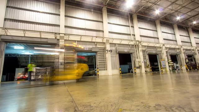 warehouse interior of transportation, timelapse video
