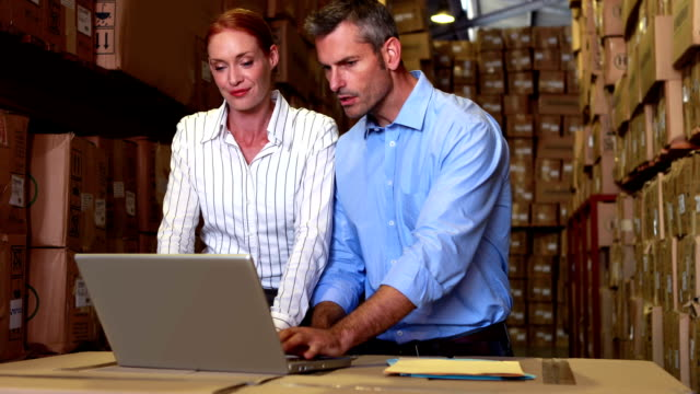 Warehouse management talking and looking at laptop video