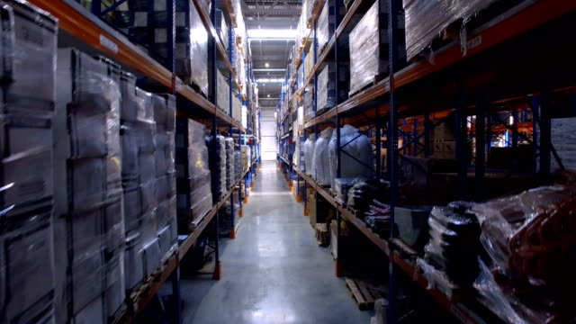 Warehouse. Moder storage facility. Aerial shot in 4K. video