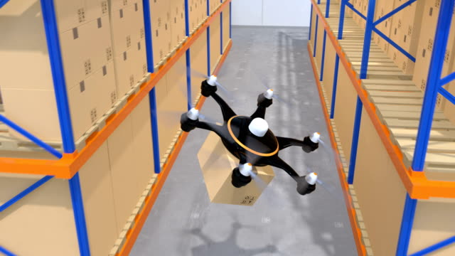 Warehouse robots and drone carrying goods video