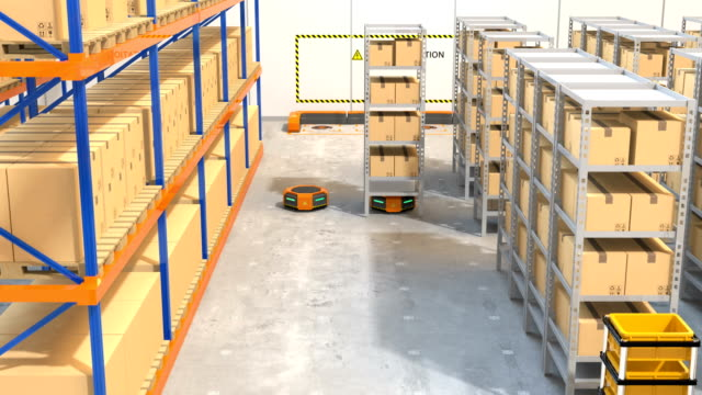 Warehouse robots carrying goods video