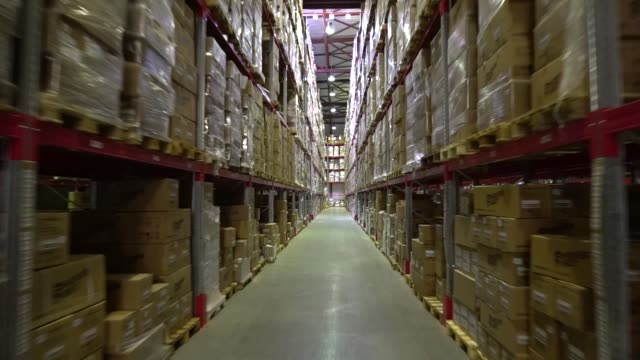 warehouse, storage at the enterprise. large racks - tavolozza video stock e b–roll