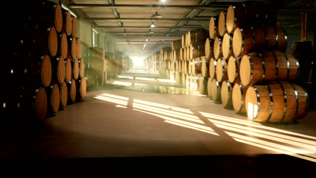 Warehouse with barrels for wine, whiskey or other alcohol. Barrels lying in several rows. Looped Animation.