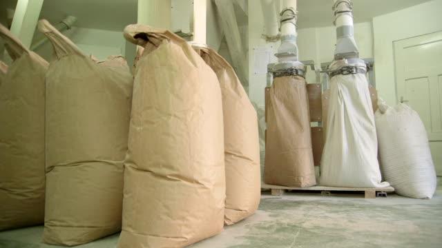 Warehouse with sacks of flour video