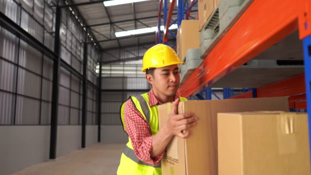 Warehouse Worker Collects Order  on Shelf