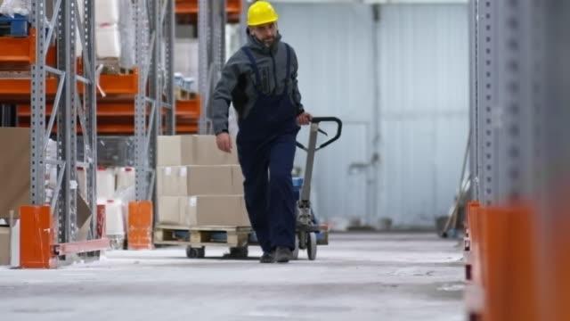 vídeos de stock e filmes b-roll de warehouse worker pulling cart - supermarket worker