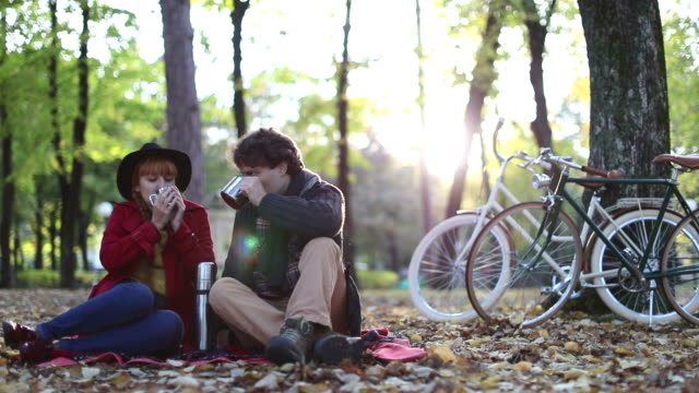 Warm drink and romantic sunset video