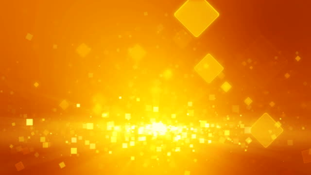 Warm orange gold color motion background with animated squares. Light ray beam effect, UHD 4k. video