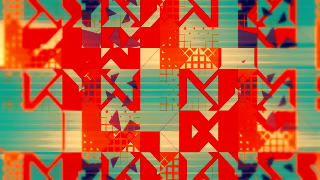 Warm pattern of triangles, squares, lines, loopable background in orange and blue