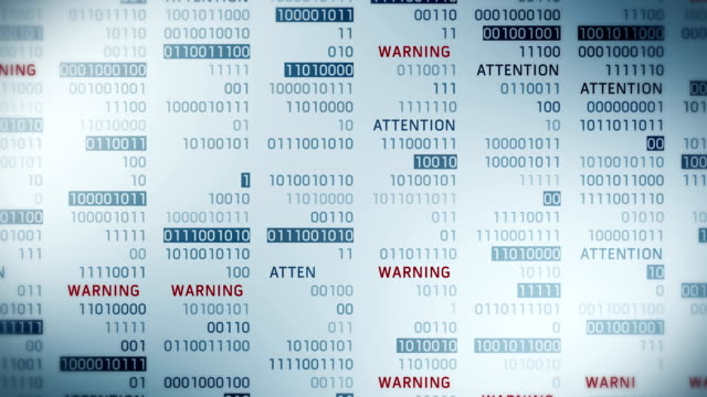 warning and attention message with binary numbers. web online with digital technology loop animation. computer network problem error concept. - настороженность стоковые видео и кадры b-roll