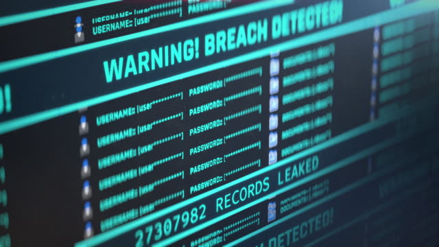 warning, breach detected message on pc screen, number of leaked records counting - настороженность стоковые видео и кадры b-roll