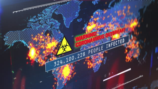 Warning, coronavirus outbreak text, number of people infected, world map