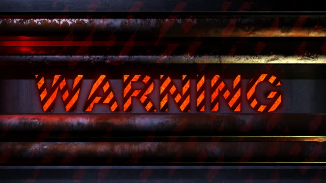 Warning FX (loopable) 'Warning' blinking on a scifi background with blinking lines and corroded tubes. Digitally created image. Full cinematic HD quality. Seamlessly loopable. warning sign stock videos & royalty-free footage