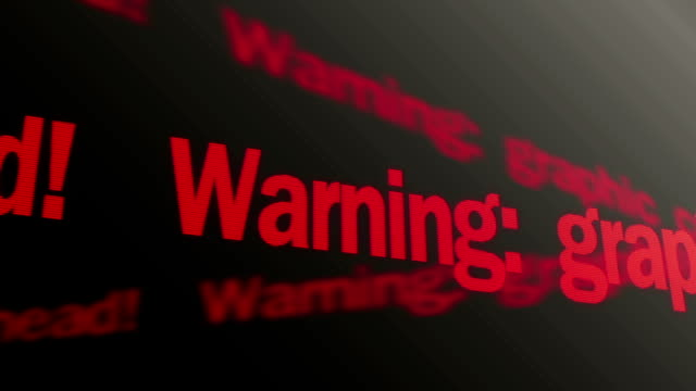 Warning, graphic content ahead. Violent content warning. Red text running Warning, graphic content ahead. Violent content warning. Red text running warning sign stock videos & royalty-free footage